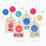 Sistema de etiquetas coloridas de la venta del Año Nuevo Foto de archivo libre de regalías