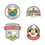 Sistema de etiquetas colorido de la granja de las ovejas Imagenes de archivo