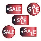 Sistema de etiquetas colorido de la venta aislado en blanco ilustración del vector