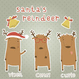 Sistema de etiquetas con el reno de Santas. Vixen, cometa, C Imagen de archivo