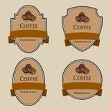 Sistema de etiquetas con la cinta marrón Tema del café Fotos de archivo
