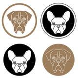 Sistema de etiquetas con las cabezas de perro Fotografía de archivo