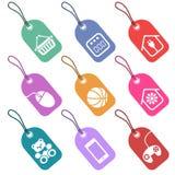 Sistema de etiquetas con los iconos para las secciones del supermark Stock de ilustración