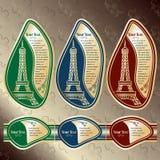 Sistema de etiquetas con una vista en la torre Eiffel (París) Imagenes de archivo