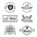 Sistema de etiquetas, de bandera, de cinta, de logotipo y de insignias de la cafetería Diseño plano Imagen de archivo libre de regalías
