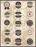 Sistema de etiquetas, de cintas, de etiqueta engomada y de insignias del vintage Imagenes de archivo