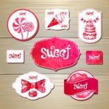 Sistema de etiquetas, de cintas y de tarjetas retras de la panadería para el diseño Fotos de archivo