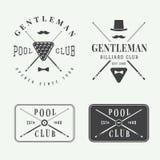 Sistema de etiquetas, de emblemas y de logotipos del billar del vintage Fotografía de archivo