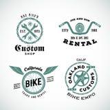 Sistema de etiquetas de encargo o de logotipos de la bicicleta retra del vector Foto de archivo libre de regalías