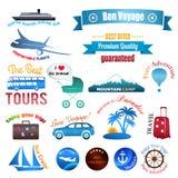 Sistema de etiquetas, de insignias y de etiquetas engomadas en viaje Fotografía de archivo