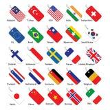 Sistema de 25 etiquetas de la bandera Fotos de archivo libres de regalías