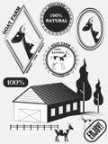 Sistema de etiquetas de la cabra, de insignias y de elementos del diseño Vector Foto de archivo