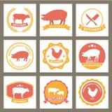 Sistema de etiquetas de la carnicería y de elementos del diseño Fotografía de archivo libre de regalías