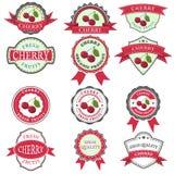Sistema de etiquetas de la cereza Stock de ilustración