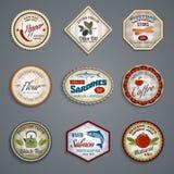 Sistema de etiquetas de la comida Fotografía de archivo