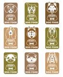 Sistema de etiquetas de la comida de perro Fotografía de archivo libre de regalías