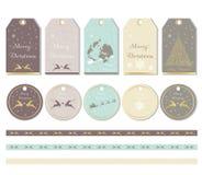Sistema de etiquetas de la Feliz Navidad Fotografía de archivo libre de regalías