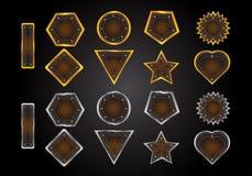 Sistema de etiquetas de la forma del oro y del cuero del vector Imagen de archivo