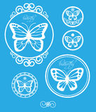 Sistema de etiquetas de la mariposa del vintage, de emblemas y de elementos del diseño Vector Fotos de archivo