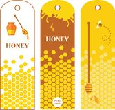 Sistema de etiquetas de la miel, de insignias y de elementos del diseño ilustración del vector