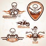 Sistema de etiquetas de la motocicleta del vintage, de insignias y de ingenio de los elementos del diseño