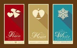 Sistema de etiquetas de la Navidad plana y de la Feliz Año Nuevo Fotografía de archivo