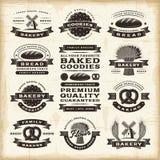 Sistema de etiquetas de la panadería del vintage foto de archivo
