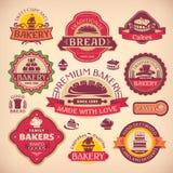 Sistema de etiquetas de la panadería del vintage Imagen de archivo