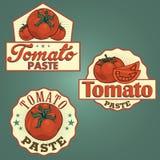 Sistema de etiquetas de la pasta de tomate Fotografía de archivo