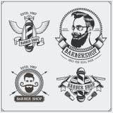 Sistema de etiquetas de la peluquería de caballeros del vintage, de insignias, de emblemas y de elementos del diseño Foto de archivo libre de regalías