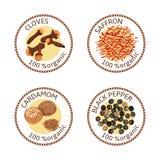 Sistema de etiquetas de las especias 100 orgánicos colección libre illustration