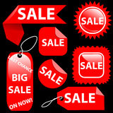 Sistema de etiquetas de las etiquetas de la venta siete de las compras Fotografía de archivo libre de regalías