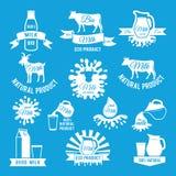 Sistema de etiquetas de leche fresca Ejemplos del vector para el diseño del logotipo de la granja stock de ilustración