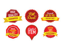 Sistema de etiquetas de lujo de la venta del vector Imágenes de archivo libres de regalías