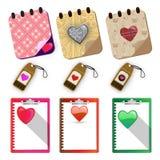 Sistema de etiquetas de papel de los corazones - ejemplo Foto de archivo libre de regalías