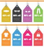 Sistema de etiquetas de tasación con los iconos de la ropa Venta de etiquetas planas del diseño Imagen de archivo libre de regalías