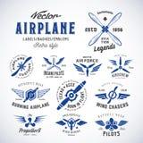 Sistema de etiquetas del aeroplano del vector del vintage con retro Imagen de archivo libre de regalías