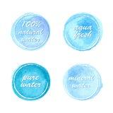 Sistema de etiquetas del agua en estilo de la acuarela ilustración del vector