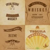 Sistema de etiquetas del alcohol del vintage Imágenes de archivo libres de regalías