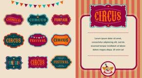 Sistema de etiquetas del circo del vintage ilustración del vector