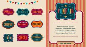Sistema de etiquetas del circo del vintage Imágenes de archivo libres de regalías