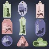 Sistema de etiquetas del color con el gato Tema turístico Imagen de archivo libre de regalías