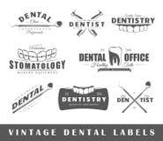 Sistema de etiquetas del dentista del vintage Fotografía de archivo libre de regalías