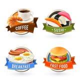 Sistema de etiquetas del desayuno Fotografía de archivo libre de regalías