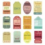 Sistema de etiquetas del equipaje del vintage Imágenes de archivo libres de regalías