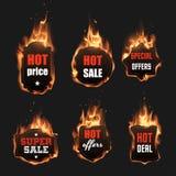 Sistema de etiquetas del fuego ilustración del vector