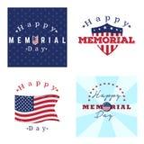 Sistema de etiquetas del Memorial Day Imagen de archivo