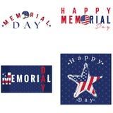Sistema de etiquetas del Memorial Day Fotos de archivo libres de regalías