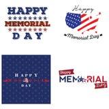 Sistema de etiquetas del Memorial Day Fotografía de archivo