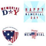 Sistema de etiquetas del Memorial Day Foto de archivo